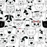 Modello senza cuciture con i gatti ed i cani di scarabocchio illustrazione di stock