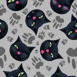 Modello senza cuciture con i gatti neri del fumetto Fotografie Stock Libere da Diritti