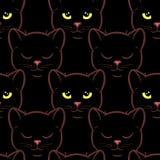 Modello senza cuciture con i gatti neri svegli Fotografie Stock Libere da Diritti