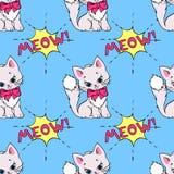 Modello senza cuciture con i gatti svegli e dire del MIAGOLIO Illustrazione di vettore Immagini Stock Libere da Diritti