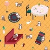 Modello senza cuciture con i gatti svegli sul pavimento Fotografie Stock Libere da Diritti