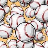 Modello senza cuciture con i grafici della palla di softball di baseball immagine stock libera da diritti