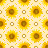 Modello senza cuciture con i grandi girasoli luminosi ed i punti marroni su fondo giallo Fotografie Stock Libere da Diritti