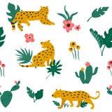 Modello senza cuciture con i leopardi e le foglie tropicali royalty illustrazione gratis
