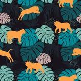 Modello senza cuciture con i leopardi e le foglie tropicali illustrazione di stock