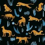 Modello senza cuciture con i leopardi nelle pose differenti con le foglie tropicali, piante, mammifero, predatore, giungla Stile  illustrazione di stock