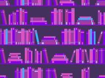 Modello senza cuciture con i libri, scaffale per libri delle biblioteche colore porpora Synthwave, nuova retro onda nello stile 8 illustrazione di stock