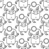 Modello senza cuciture con i maiali divertenti, un simbolo di 2019 sul calendario cinese Maiali terrosi gialli con i crisantemi illustrazione vettoriale