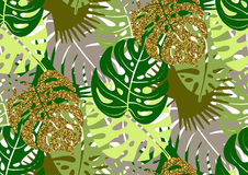 Modello senza cuciture con i motivi tropicali d'avanguardia di estate, le foglie esotiche e le piante Immagine Stock Libera da Diritti