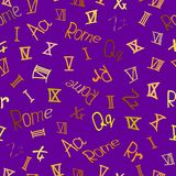 Modello senza cuciture con i numeri romani, le lettere e la parola Roma royalty illustrazione gratis