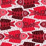Modello senza cuciture con i pesci rossi Immagine Stock Libera da Diritti