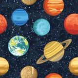 Modello senza cuciture con i pianeti del sistema solare Fotografie Stock
