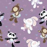 Modello senza cuciture con i piccoli animali svegli Il coniglietto l'orso ed il panda Ballerine, vettore illustrazione vettoriale
