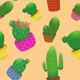 Modello senza cuciture con i piccoli cactus in vasi illustrazione di stock