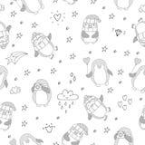 Modello senza cuciture con i pinguini svegli Fronte delle donne disegnate a mano di illustration Vettore Fotografia Stock Libera da Diritti