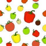 Modello senza cuciture con i pomodori ed i peperoni Fotografie Stock Libere da Diritti