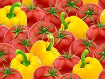 Modello senza cuciture con i pomodori ed il peperone dolce Fotografie Stock Libere da Diritti