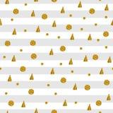 Modello senza cuciture con i punti ed i triangoli dell'oro su fondo a strisce Immagini Stock Libere da Diritti