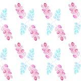 Modello senza cuciture con i ramoscelli astratti con le foglie di colore rosa e blu su un fondo bianco royalty illustrazione gratis