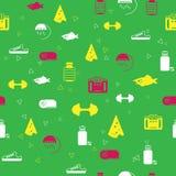 Modello senza cuciture con i simboli di nutrizione sana di stile di vita, di forma fisica e di sport immagini stock