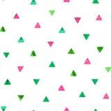 Modello senza cuciture con i triangoli luminosi dell'acquerello Illustrazione di vettore Fotografia Stock