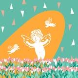 Modello senza cuciture con i tulipani e gli angeli del mazzo royalty illustrazione gratis
