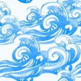 Modello senza cuciture con i turbinii e le onde del mare Fotografia Stock