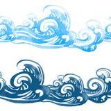 Modello senza cuciture con i turbinii e le onde del mare Immagine Stock Libera da Diritti