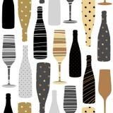 Modello senza cuciture con i vetri del champagne Tessuto disegnato a mano, involucro di regalo, progettazione di arte della paret illustrazione di stock
