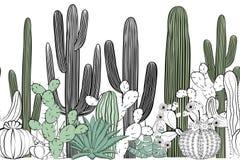 Modello senza cuciture con il cactus Foresta selvaggia del cactus illustrazione vettoriale