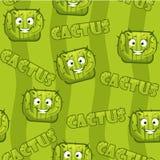 Modello senza cuciture con il cactus sorridente quadrato Fotografie Stock