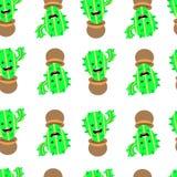 Modello senza cuciture con il cactus sveglio ed il fumetto divertente su fondo bianco royalty illustrazione gratis