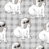 Modello senza cuciture con il cane divertente Illustrazione di vettore Fotografie Stock Libere da Diritti