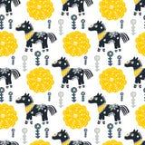 Modello senza cuciture con il cavallo, i fiori e gli elementi disegnati a mano Struttura del ` s dei bambini Grande per tessuto,  Fotografie Stock Libere da Diritti