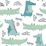 Modello senza cuciture con il coccodrillo, fondo per il tessuto dei bambini, tessuto, decorazione della scuola materna, carta da  royalty illustrazione gratis