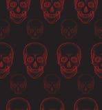 Modello senza cuciture con il cranio rosso disegnato a mano Fotografie Stock Libere da Diritti