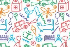 Modello senza cuciture con il disegno dei bambini di scarabocchio Fotografia Stock Libera da Diritti