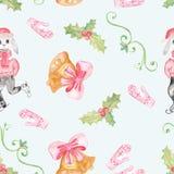 Modello senza cuciture con il disegno del ` s dei bambini Festa, disegni di Natale Royalty Illustrazione gratis