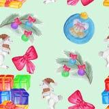 Modello senza cuciture con il disegno del ` s dei bambini Festa, disegni di Natale Illustrazione Vettoriale