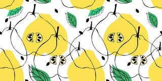 Modello senza cuciture con il disegno di profilo della cotogna della mela Contesto con i frutti, le foglie ed i semi illustrazione di stock