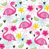 Modello senza cuciture con il fenicottero rosa ed i fiori tropicali illustrazione vettoriale