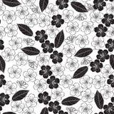 Modello senza cuciture con il fiore di ciliegia Priorità bassa in bianco e nero Illustrazione floreale monocromatica illustrazione vettoriale