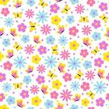 Modello, senza cuciture con il fiore e la farfalla Immagine Stock