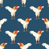Modello senza cuciture con il gallo 1 Fotografie Stock