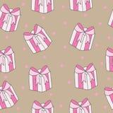 Modello senza cuciture con il grande regalo rosa con l'arco Immagini Stock Libere da Diritti