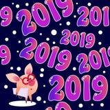 modello senza cuciture 2019 con il maiale illustrazione vettoriale