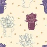 Modello senza cuciture con il mazzo dei tulipani in una tazza ed in pois Fotografia Stock