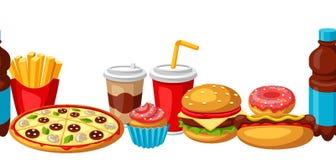 Modello senza cuciture con il pasto rapido Prodotti saporiti del pranzo di pasto rapido illustrazione vettoriale