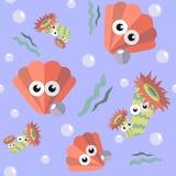 Modello senza cuciture con il pettine ed il corallo royalty illustrazione gratis