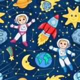 Modello senza cuciture con il piccolo astronauta sveglio illustrazione vettoriale